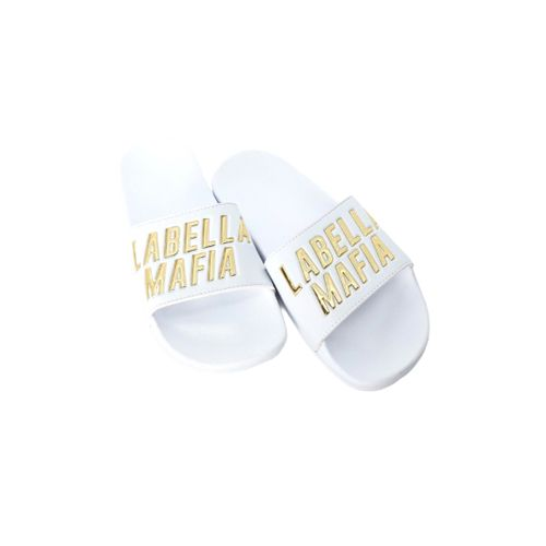 Slide Branco e Dourado